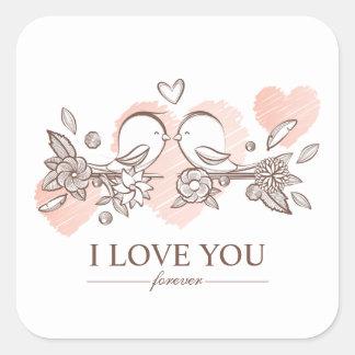 Lovebirds adoráveis no selo da etiqueta dos