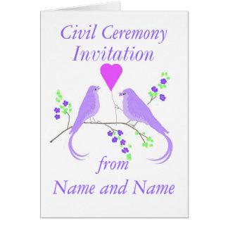 Lovebirds civis dos convites da cerimónia cartão comemorativo