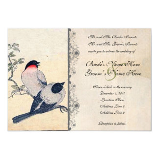 Lovebirds japoneses do vintage que Wedding o Convite 12.7 X 17.78cm