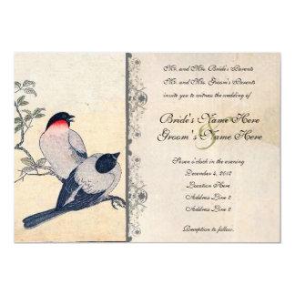 Lovebirds japoneses do vintage que Wedding o Convite 12.7 X 17.78cm