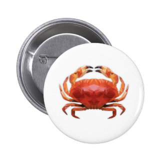 Low Poly Crab Button Bóton Redondo 5.08cm
