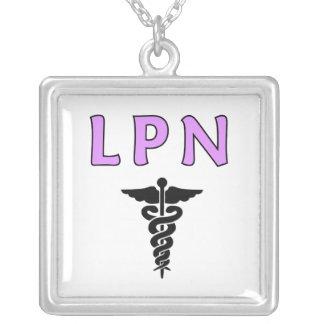 LPN médico Colar Com Pendente Quadrado