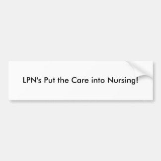 LPN pstos o cuidado em cuidados Adesivo Para Carro