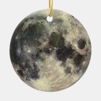 Lua cheia ornamento de cerâmica redondo