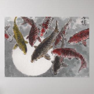 Lua chinesa dos peixes da aguarela 9 KOI da arte d Poster