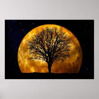 Lua e árvore Poster-Customizáveis Pôster