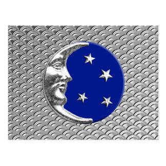 Lua e estrelas do art deco - azuis cobaltos e cartão postal