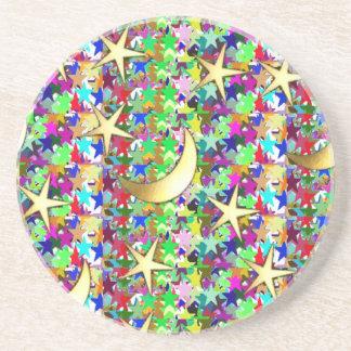 Lua e estrelas: Fundo elegante da noite estrelado Porta Copos Para Bebidas