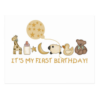 Lua, estrelas, e aniversário dos animais primeiro cartão postal