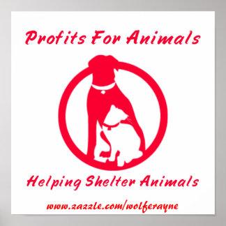 Lucros para o poster dos animais