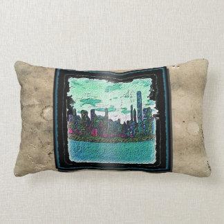 Lumbar curvado do travesseiro da arte da cidade almofada lombar