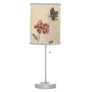 Luminária De Mesa Aguarela da abelha, da borboleta e da papoila do