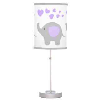 Luminária De Mesa Animais roxos do safari do berçário do bebé do