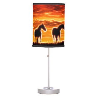 Luminária De Mesa Espírito do por do sol do cavalo