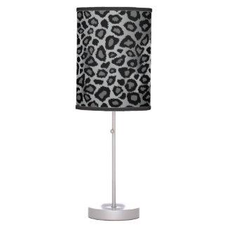 Luminária De Mesa Impressão animal do leopardo cinzento e preto