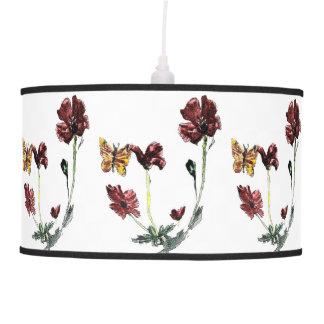Luminária De Teto Arte das flores da borboleta e da papoila