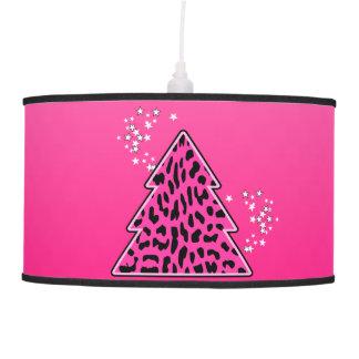 Luminária De Teto Árvore de Natal cor-de-rosa da chita do leopardo