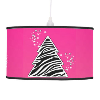 Luminária De Teto Árvore de Natal cor-de-rosa da zebra