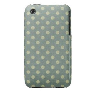 Lunares azul, beige, textura fabric Case-Mate iPhone 3 carcasa