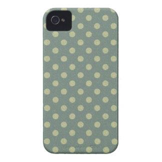 Lunares azul, beige y ornamento vintage iPhone 4 Case-Mate cárcasas