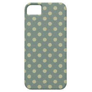 Lunares azul, beige y ornamento vintage iPhone 5 funda