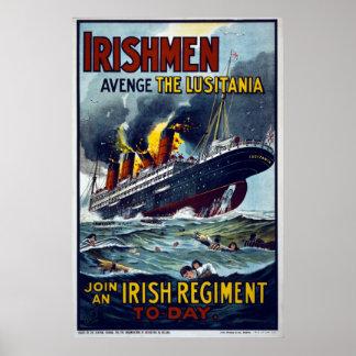 Lusitania que afunda-se, poster do exército WW1