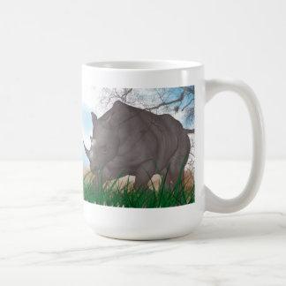 Luta do rinoceronte caneca de café