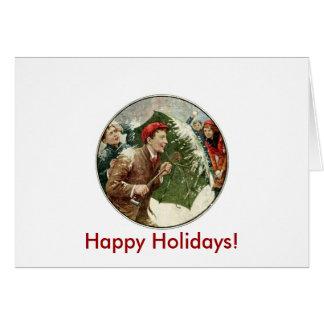 Luta do Snowball do feriado Cartão Comemorativo