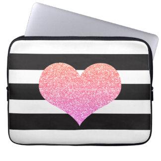 Luva listrada do computador portátil do coração capa de computador notebook