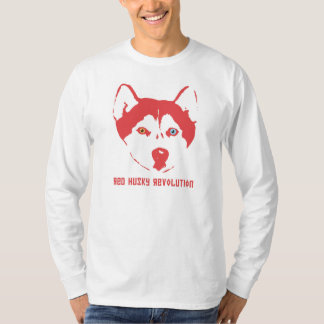 Luva longa branca T da revolução ronca vermelha Camiseta