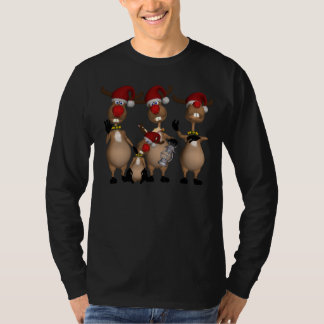 Luva longa do feriado da rena para homens tshirts