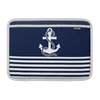 Luva náutica do azul marinho/a branca da âncora de capas para MacBook air