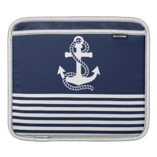 Luva náutica do azul marinho/a branca da âncora do capas para iPad