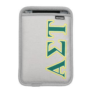 Luva Para iPad Mini Letras amarelas e verdes da tau alfa do Sigma