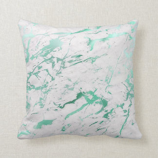 Luxo de mármore verde aquático branco da cerceta almofada