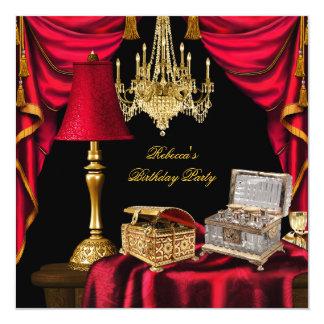 Luxo elegante do vermelho do preto do ouro do convites personalizado