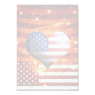 luz americana do design do coração do orgulho convites personalizado