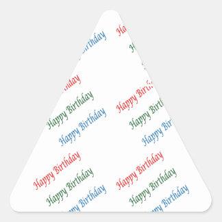 Luz colorida do roteiro de HappyBirthday do FELIZ Adesivo Triangular