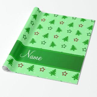 Luz conhecida personalizada - estrelas verdes do papel para presente