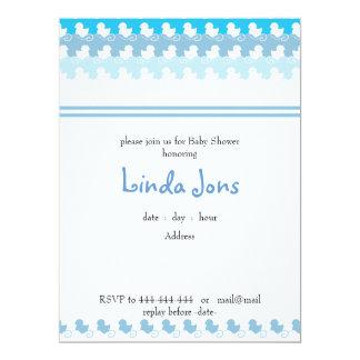 luz - convite azul do chá de fraldas da fileira do