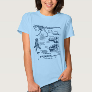 Luz de esqueleto da camisa do tiranossauro - azul tshirts