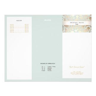 Luz do ouro do salão de beleza - folheto azul do flyer 21.59 x 27.94cm