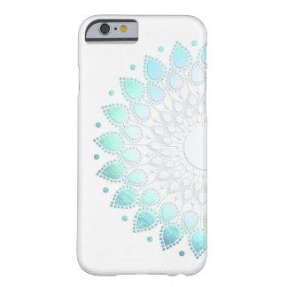Luz elegante - motivo da flor do verde azul capa barely there para iPhone 6