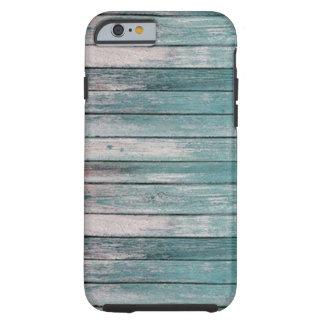 Luz - o azul desvaneceu-se madeira capa tough para iPhone 6