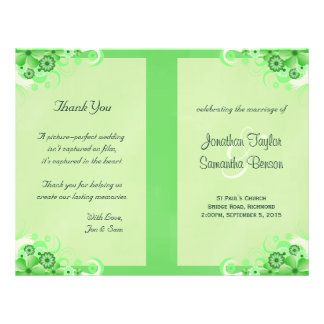 Luz - programa Wedding dobrado floral verde Flyer 21.59 X 27.94cm