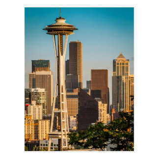 Luz solar do ajuste na agulha e no Seattle do Cartão Postal