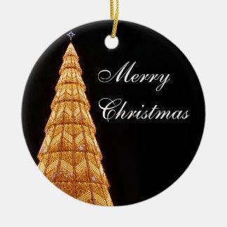 Luzes da árvore de Natal Ornamento De Cerâmica Redondo