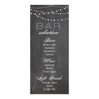 """Luzes do quadro e da corda que Wedding o menu do Convite 10.16"""" X 23.49cm"""