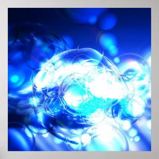 Luzes & efeitos azuis do impressão do poster da ar