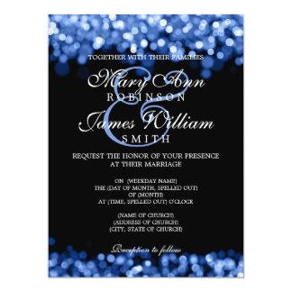"""Luzes elegantes do azul do casamento convite 16.51"""" x 22.22cm"""
